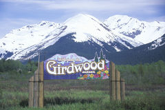 A sign that reads �Welcome to Girdwood. Alaska stock photo