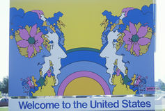 A sign that reads �Welcome to the United States� royalty free stock image