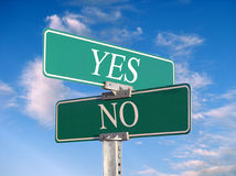 Sign that reads. Street sign that reads Yes, No - great concept background Royalty Free Stock Images