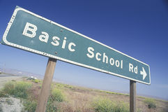 A sign that reads �Basic School Rd� Stock Photo
