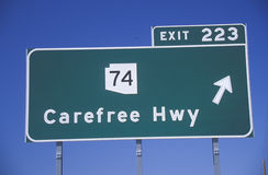 A sign that reads �Carefree Hwy� Stock Image