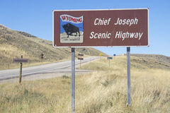 A sign that reads �Chief Joseph Scenic Highway� Royalty Free Stock Photo