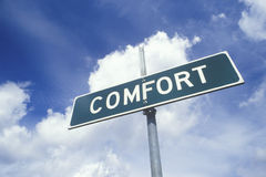 A sign that reads �Comfort� Royalty Free Stock Image