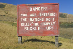 A sign that reads �Danger...� Royalty Free Stock Photo