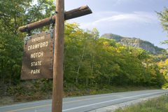 Sign reads Entering Crawford Notch State Park, New Hampshire Royalty Free Stock Photo
