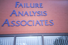 A sign that reads �Failure Analysis Associates� Stock Image