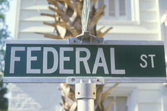 A sign that reads �Federal St� Stock Photo