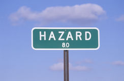 A sign that reads �Hazard - 80� Royalty Free Stock Images