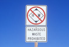 A sign that reads �Hazardous waste prohibited� Stock Photography