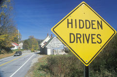 A sign that reads Hidden Drives Stock Photography