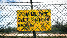 Sign that reads in Italian military zone, no entry, armed surveillance. Stock Photography