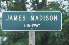 A sign that reads �James Madison Highway� Royalty Free Stock Images