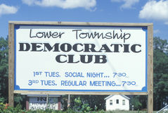A sign that reads �Lower Township Democratic Club� Stock Photos