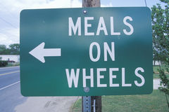 A sign that reads �meals on wheels� Stock Image