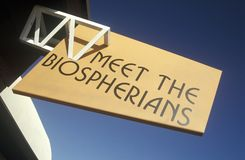 Sign reads Meet the Biospherians at Biosphere 2 at Oracle in Tucson, AZ Royalty Free Stock Photo