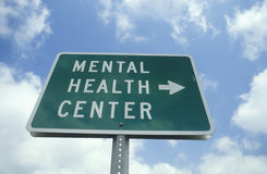 A sign that reads �Mental health center� Stock Images