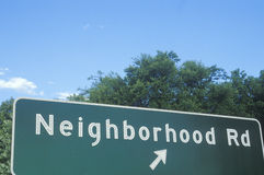 A sign that reads �Neighborhood Rd.) Stock Images