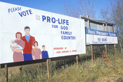 A sign that reads �Please vote pro-life� Stock Photo