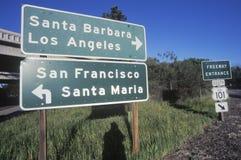 A sign that reads �Santa Barbara/Los Angeles - San Francisco/Santa Maria� Stock Images