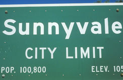A sign that reads �Sunnyvale city limit� Royalty Free Stock Image