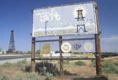 A sign that reads �Taft welcomes you!� Royalty Free Stock Images