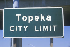 A sign that reads �Topeka city limit� Royalty Free Stock Photo