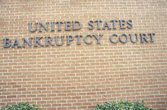 A sign that reads �United States Bankruptcy Court� Stock Photo