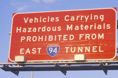 A sign that reads �Vehicles carrying hazardous materials prohibited� Stock Photos