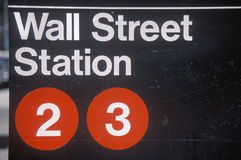A sign that reads �Wall Street Station� Royalty Free Stock Photography