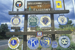 A sign that reads �Welcome to Flagstaff� Stock Images