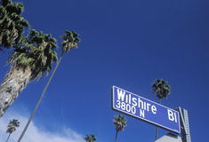 A sign that reads �Wilshire Bl� Stock Photos