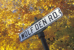 A sign that reads �Wolf Den Road� Royalty Free Stock Photo