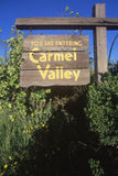 A sign that reads �You are entering Carmel Valley� Royalty Free Stock Photos