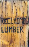 Sign for reclaimed lumber Royalty Free Stock Photography
