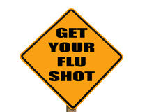 Sign reminding everyone to get their flu shot royalty free stock image