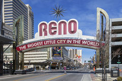 The Sign of Reno Arch, Nevada Stock Images