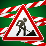 Sign repair works and barrier tapes. Vector illustrations Royalty Free Stock Photos