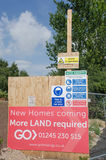 Sign requesting more land for building development on  site Royalty Free Stock Photos