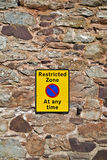 Sign: Restricted Zone at any time Stock Images