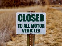 Signs: Closed to All Motor Vehicles. Sign restricting vehicles from entry Royalty Free Stock Photos