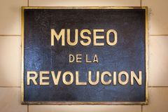 Sign of the Revolution Museum. Sign outside of the Revolution Museum Museo de la Revolucion in Havana, Cuba stock image