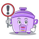 With sign rice cooker character cartoon Stock Image