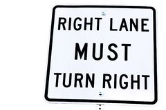 Sign of Right lane must turn right. Background of white color Stock Images