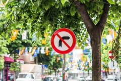 Sign right turn is prohibited Royalty Free Stock Photo