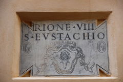 Sign of Rione S. Eustachio in Rome Royalty Free Stock Images