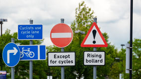 Sign for rising bollard, hazard, cylist Royalty Free Stock Photography