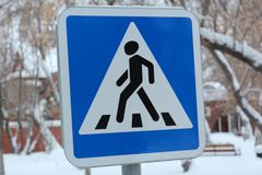 Sign on road, pedestrian crossing, traffic rules, transport royalty free stock photo