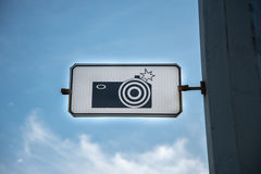 Sign road camera stock image