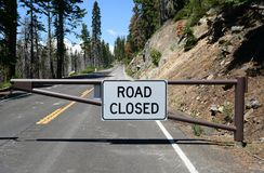 The sign `Road closed` in Yosemite National Park, CA, USA. The sign `Road closed` in Yosemite National Park, California, USA Stock Photography