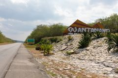 Sign beside the road of the Guantanamo province, Cuba. Big sign beside the road on a little hill of the Guantanamo province, Cuba Stock Photography